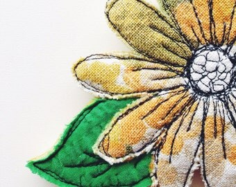 Floral - brooch - wearable art - vintage table cloth - thread drawing