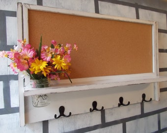 Large Corkboard--Message Center--Letter holder--Magazine Holder--Mason Jar Vase--4 Double Coat Hooks--Message  Board