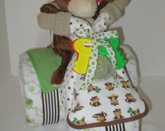 Diaper Cake,Tricycle, Trike, Baby Shower Gift , Jungle, Monkey, Centerpiece, Baby Cakes, Baby Boy