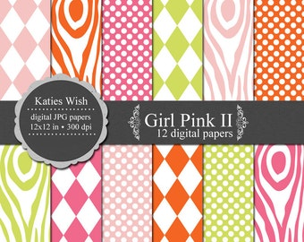 Girl Pink II Digital Scrapbook Kit 12x12 inch Instant Download files