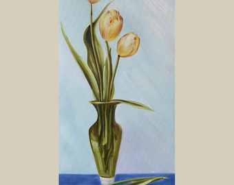 ORIGINAL Oil Painting Tulips 15 x 30 Colorful Flowers Pale Cream  White Green Realism Love  Romance Brush Vase  ART by Marchella