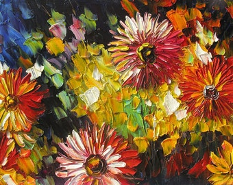ORIGINAL Oil Painting Summer Dream 23x36 Palette Knife Colorful Flowers Red Blue Big Wall Modern decor Yellow Texture CanvasART by Marchella