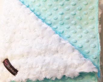 Aqua Blue Blanket - Minky Cuddle Blanket - Minky Blanket - Etsykids Team - Toddler Blanket - Baby Blanket - Aqua Blue Baby