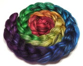 Superfine baby alpaca and tussah silk combed top roving 98g (3.4oz) handpainted fiber - Black Jewels - Black Rainbow