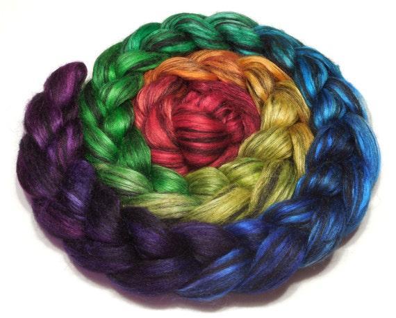 Superfine baby alpaca and tussah silk combed top roving 98g (3.4oz) handpainted fiber - Black Jewels - Black Rainbow
