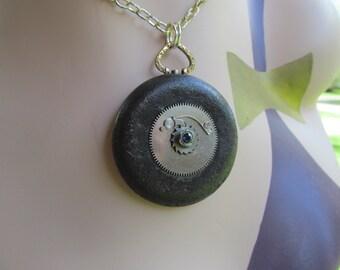 Urban Debris Found Object Rusty Washer and Pocket Watch Gear  Industrial Art necklace Pendant Z 18
