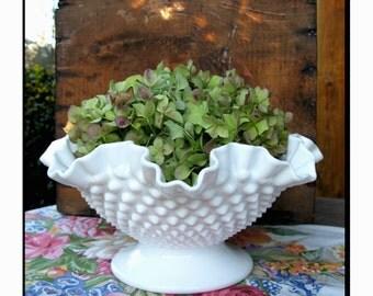 Fenton Milk Glass Hobnail Centerpiece/ Milk Glass Wedding Centerpiece / Milk Glass Fruit Bowl