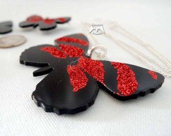 Elegant Red Butterfly Large Pendant
