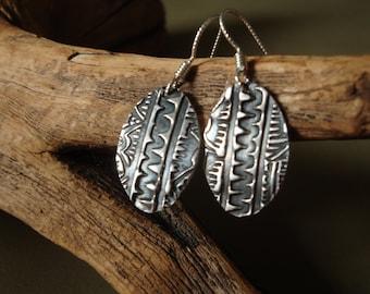 Fine Silver Earrings - Textured - Native American Earrings - Sonoran Spirit Earrings