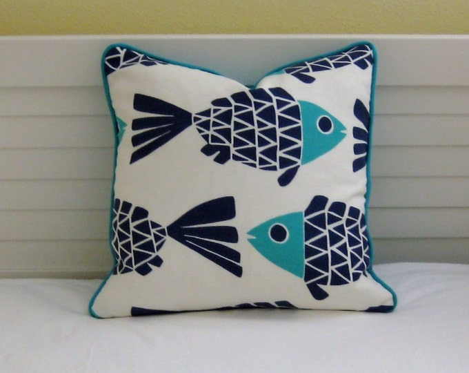 Go Fish Navy and Aqua Fish Design Indoor Outdoor Pillow Cover with Piping - Square, lumbar and Euro Designer Pillow Cover