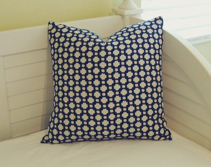 Schumacher Betwixt in Indigo and Ivory Designer Pillow Cover -Both Sides or Front Only - Square, Euro and Lumbar Sizes