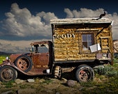Old Vintage Truck Advertising Cody Wyoming near Yellowstone National Park No.3035 A Vintage Auto Western Landscape Photograph
