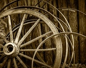 Wooden Wagon Wheels at Fort Edmonton in Sepia Tone at Alberta Canada No.SP3951 A Pioneer Farm Landscape Photograph