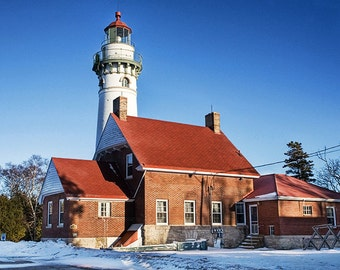 Seul Choix Point Lighthouse in Winter on the Shore of Lake Michigan in the Upper Peninsula No.375 - A Fine Art Lighthouse Photograph