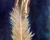 Brown and White Bird Feather Painting
