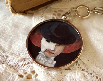 Christine's Locket - Handpainted Victorian Style Portrait Miniature Pendant featuring Raoul and the Phantom of the Opera