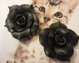 Kawaii black clay rose cabochons   2 pcs---USA seller