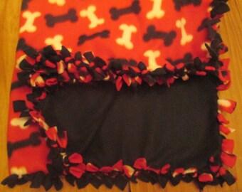 Red White and Black Medium Dog Bone Fleece Blanket