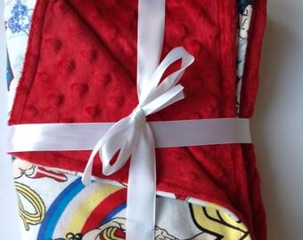 "Girl Superhero Wonder Woman minky fleece flannel blanket 26""x28"""