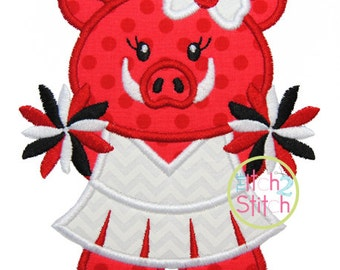 """Hog Cheer Applique Design In Hoop Sizes 4x4, 5x7,  and 6x10, Shown with our """"One Thing"""" font NOT Included, INSTANT DOWNLOAD"""