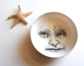 Old woman in the moon bowl, Grandma Moon Porcelain Bowl, Hand Drawn Faces in Ceramics