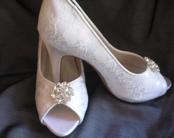 Wedding Shoes Ivory or White Bridal Shoes with Lace and Sparkling Crystal Flower Brooch