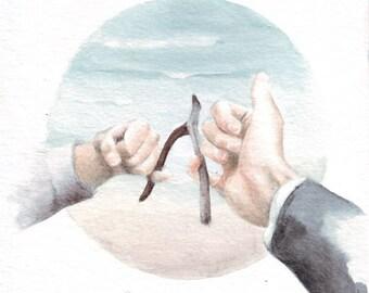 H008 Original watercolor art painting Summer Love Memories by Helga McLeod