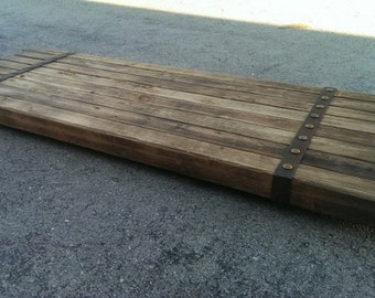 STRAPPED PLATFORM RUSTIC # 34 custom made by Industrial Evolution Furniture co.