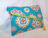 SALE Diagonal Foldover Clutch, Make Up Bag, Travel Bag, Bridesmaids Gift  --- Teal and Rust Medallion