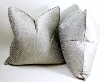 Pair of Quilted Silk Decorative Pillow Covers, Gray Silk Throw Pillows, Cushion Covers, Throw Pillows