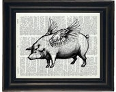 BOGO SALE Pig Upcycled Art Dictionary Art Book Print Pigs Can Fly on Vintage Dictionary Book Page Paper