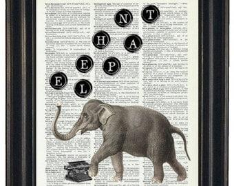 BOGO SALE Dictionary Art Print Dictionary Print Vintage Dictionary Prints QuoteTypewriter Keys Elephant HHP Original Concept and Design