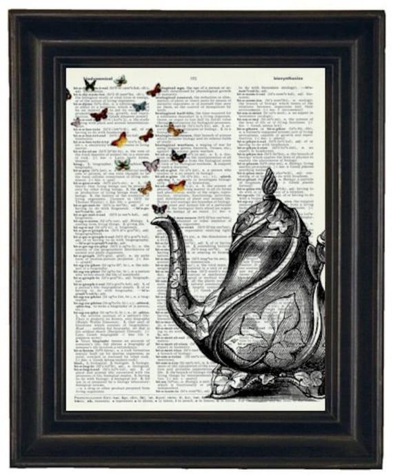 BOGO SALE Dictionary Art Print Teapot and Butterflies Art Print Vintage Dictionary Book Art Print Upcycled HHP Original