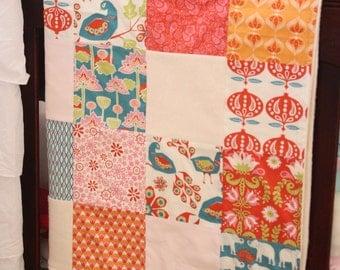 ORGANIC Baby Quilt, Patchwork Blanket, Monaluna Raaga