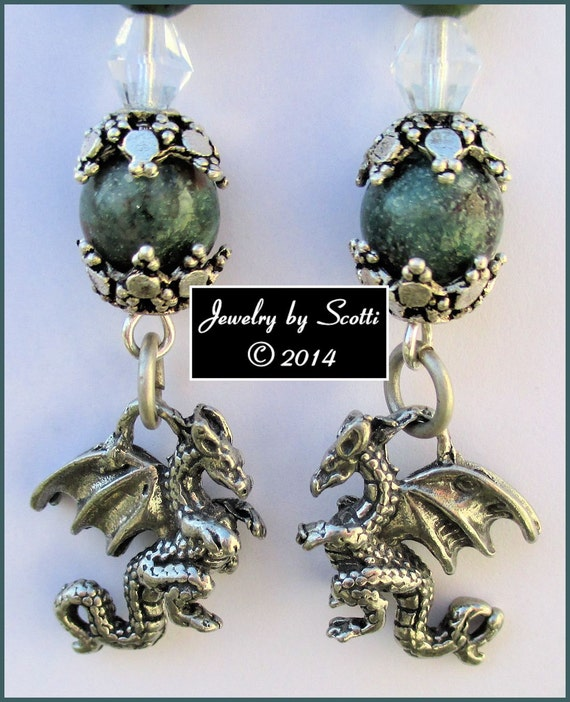 Gemstone Dragon Earrings // Dragon's Blood Beads // Czech Glass // Pewter Goth Earrings // SRAJD