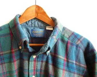 Vintage Pendleton Plaid Wool Shirt Mens M/L