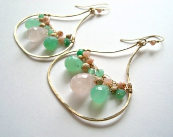 SALE Pink Green Gemstone Chandelier, Chrysoprase Hoop Earrings, Rose Quartz, Hammered Gold Hoops, Boho Hoops, 25% Off: Ready to Ship