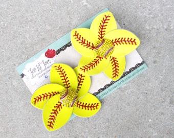 Softball Flip Flop Clips - Softball Mom Accessory - Softball Jewelry - Softball Hair Clip - Softball Bow - Softball Headband