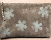 handmade chocolate suede leather 'mountain flower' zip pouch