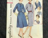 Simplicity 2804 Misses Vintage Dress Pattern Size 20 Copyright 1958