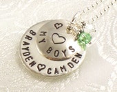 Personalized Mother's Necklace - My Boys with One or Two Kids Names - Sterling Silver Jewelry for Mom - My Sons - For Her