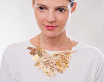 Rose gold necklace,gold plated necklace,bib leaf necklace,nature jewelry