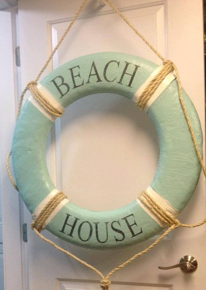Canvas Life Preserver Ring Vintage Beach House Wall Hanging