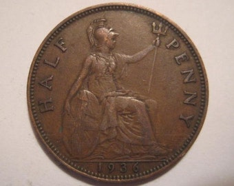 1936 United Kingdom, British Coin, Bronze Half Penny