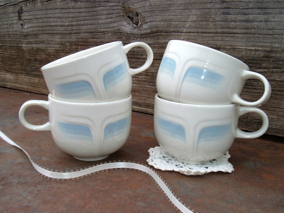 Vintage Blue and White Cups from England. French Cottage Chic and Country Farmhouse Kitchen Style. Housewares. English Teacup Collection.