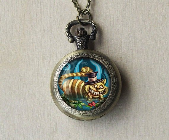 cheshire cat pocket necklace in