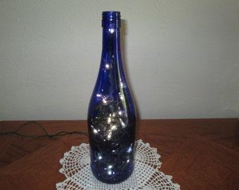 Blue Wine Bottle Light, Man Cave Decor, 21st Birthday, Bar Light