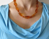 Very gentle, bright beautiful necklace: natural genuine cognac colour Baltic amber./100% Natural Genuine Baltic Amber.