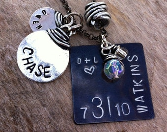 Hand-Stamped Personalized Mothers Charm Necklace