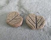 Stoneware Leaf Print Charm Pair